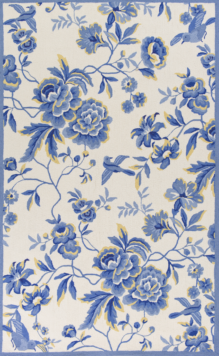 Kas sonesta 2032 ivory blue provence area rug for Blue and white oriental rug