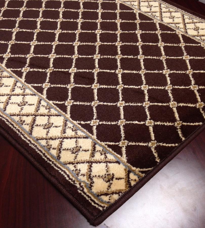 Caspian 8264bw Rhombus Brown Carpet Hallway And Stair