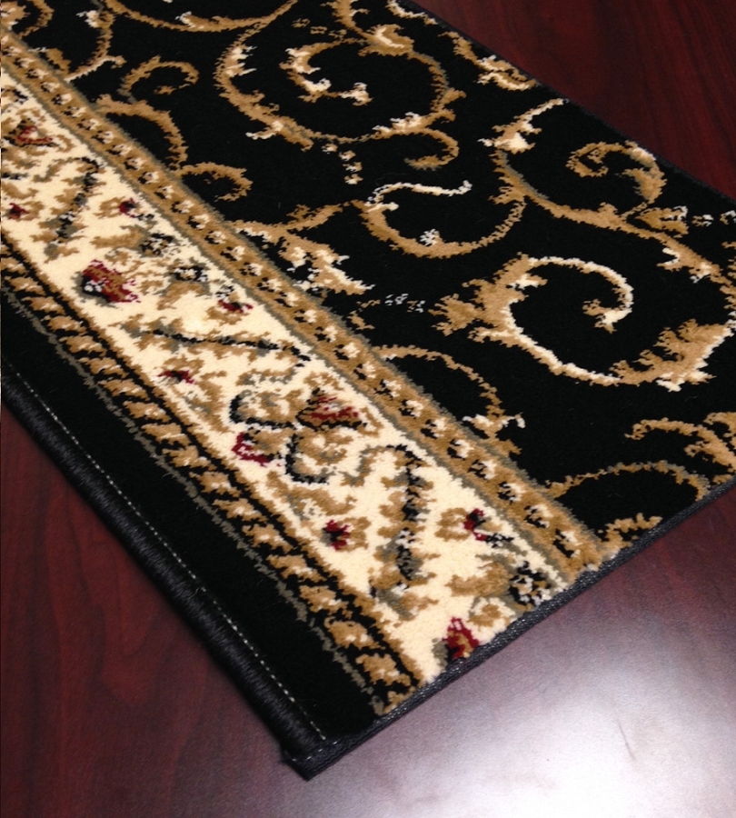 Black Pattern Carpet Stair Runner Traditional Como 1599