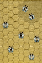 Lil Mo Whimsy LMJ-15 Honeycomb Gold Rug by Momeni