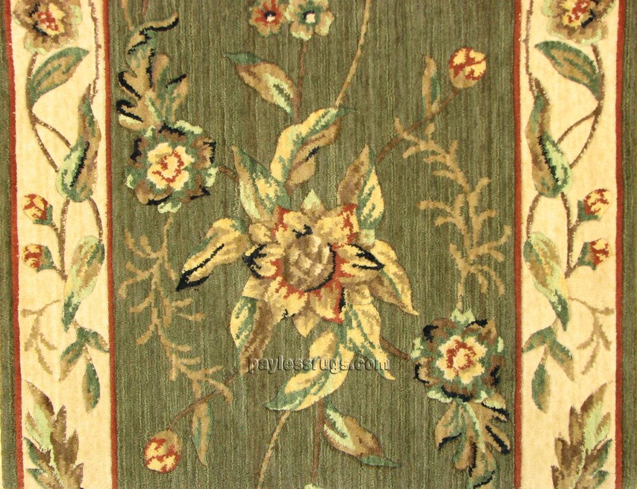 Botanical Bo01 Green Floral Carpet Stair Runner