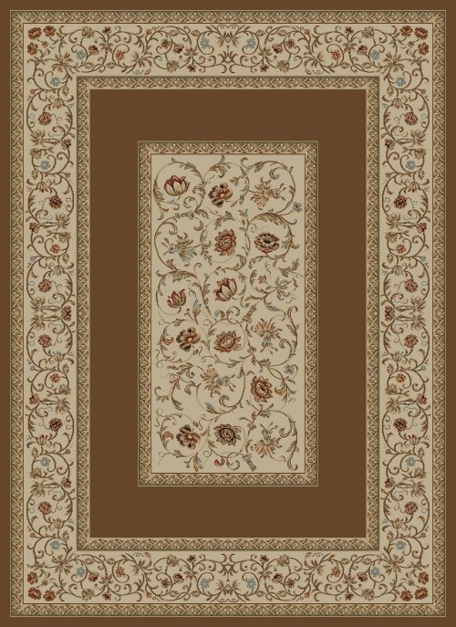 Concord Ankara 6238 Floral Border Brown Area Rug