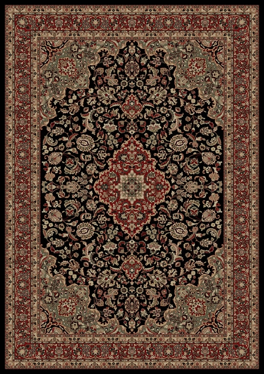 Concord Persian Classics 2083 Medallion Kashan Black Area Rug