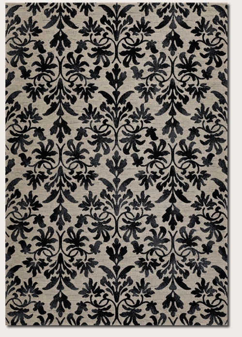Retro Damask Grey Black 6316/6333 Everest Rug by Couristan