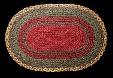 Oval Braided C-111 Burgundy/Green/Sunflower 100% Jute Earth Rugs