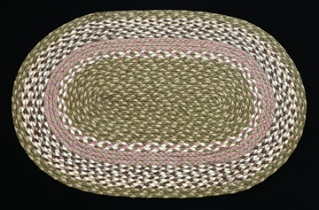 Oval Braided C-117 Olive/Ivory/Taupe 100% Jute Earth Rugs