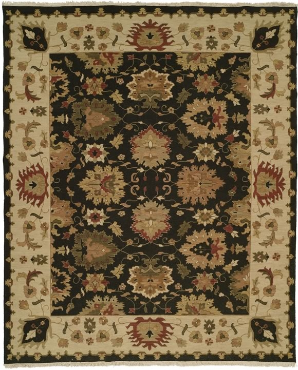 Hacienda HAC-01 Black Ivory Flat Weave Hand Knotted 100% Wool Rugs On Sale