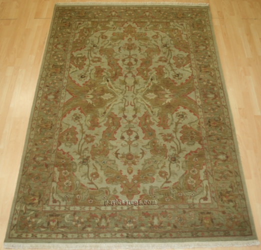 Hacienda HAC-10 Antique Ivory Soft Gold Flat Weave Hand Knotted 100% Wool Rugs On Sale