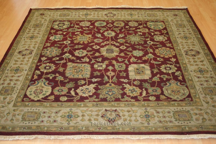 Hacienda HAC-14 Burgundy Ivory Flat Weave Hand Knotted 100% Wool Rugs On Sale