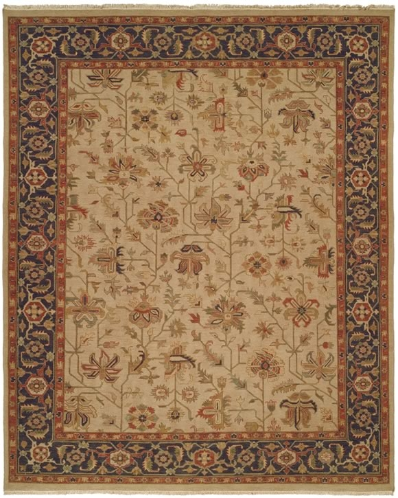 Hacienda HAC-24 Ivory Blue Flat Weave Hand Knotted 100% Wool Rugs On Sale