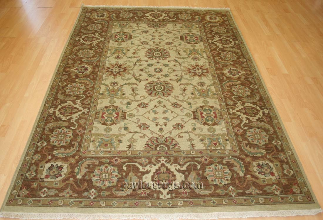 Hacienda HAC-35 Ivory Brown Flat Weave Hand Knotted 100% Wool Rugs On Sale