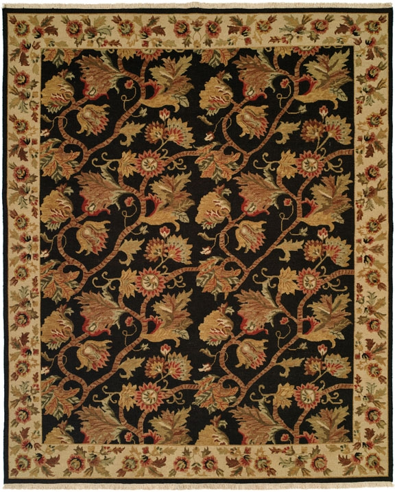 Hacienda HAC-38 Black Ivory Flat Weave Hand Knotted 100% Wool Rugs On Sale