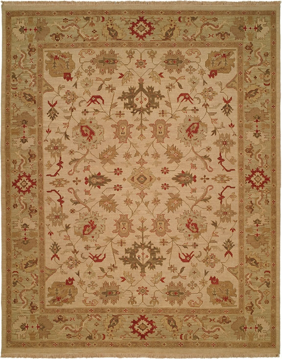 Hacienda HAC-46 Ivory Light Green Flat Weave Hand Knotted 100% Wool Rugs On Sale