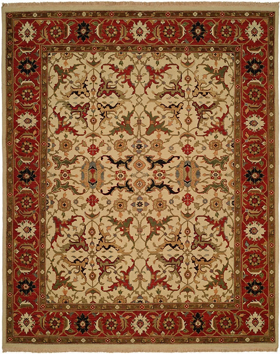 Hacienda HAC-48 Ivory Red Flat Weave Hand Knotted 100% Wool Rugs On Sale