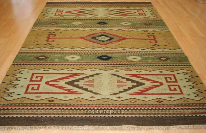 Hacienda HAC-52 Earth Tones Flat Weave Hand Knotted 100% Wool Rugs On Sale