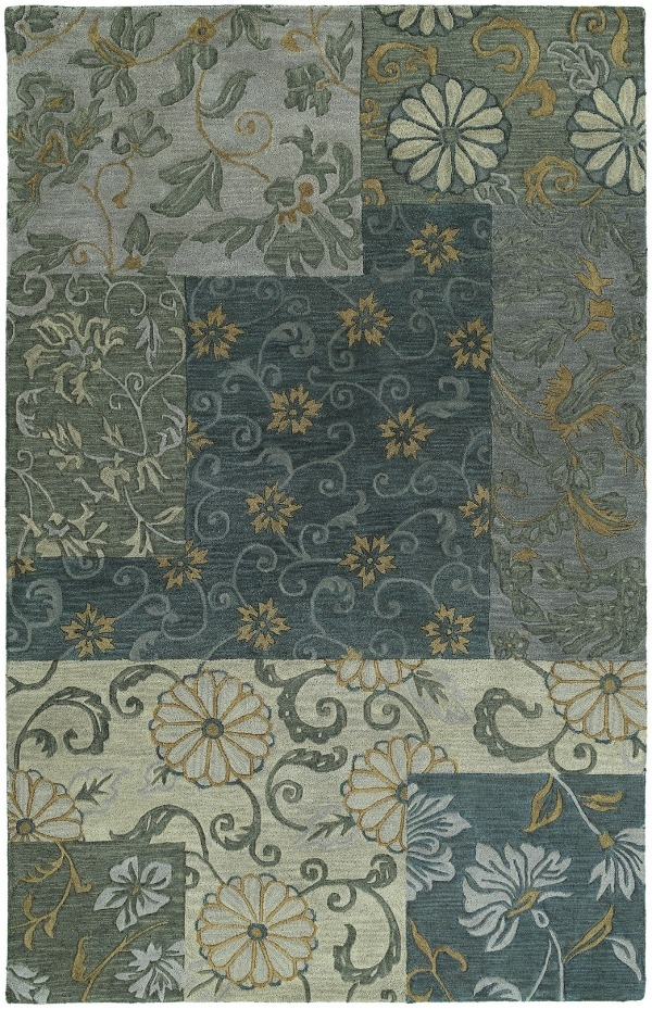 Calais 7504 Autumn Leaves Blue 17 Rug by Kaleen