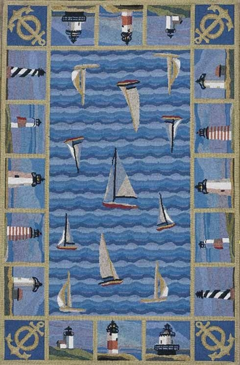 Colonial Lighthouses 1335 Blue Rug by Kas
