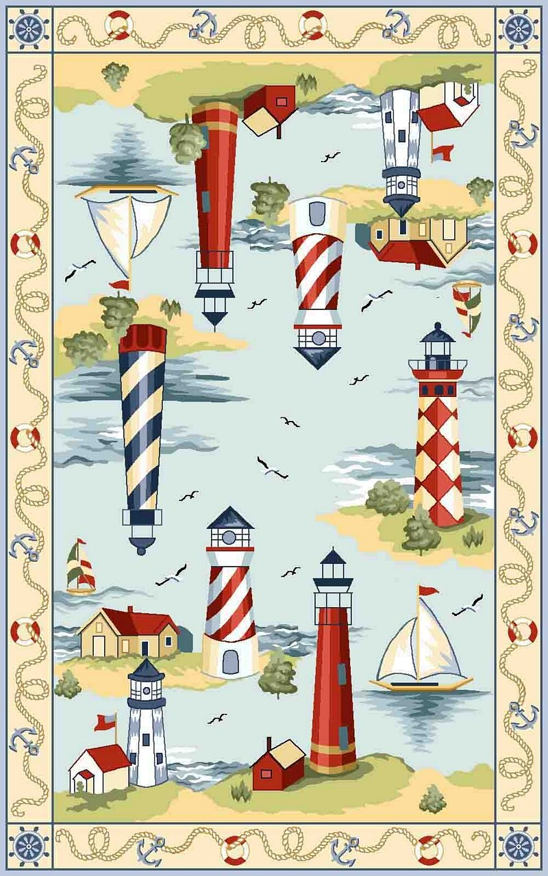 Colonial Lakehouse Views 1800 Light Blue Rug by Kas