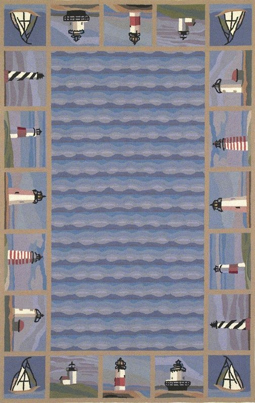 Colonial Lighthouse Waves 1802 Blue Rug by Kas