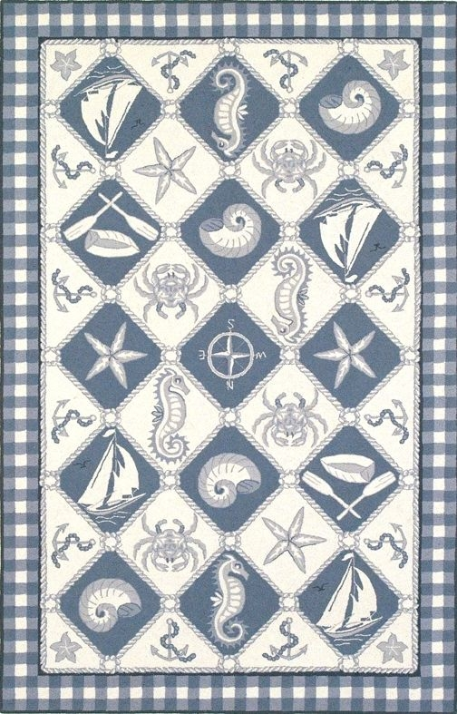 Colonial Nautical Panel 1807 Blue / Ivory Rug by Kas