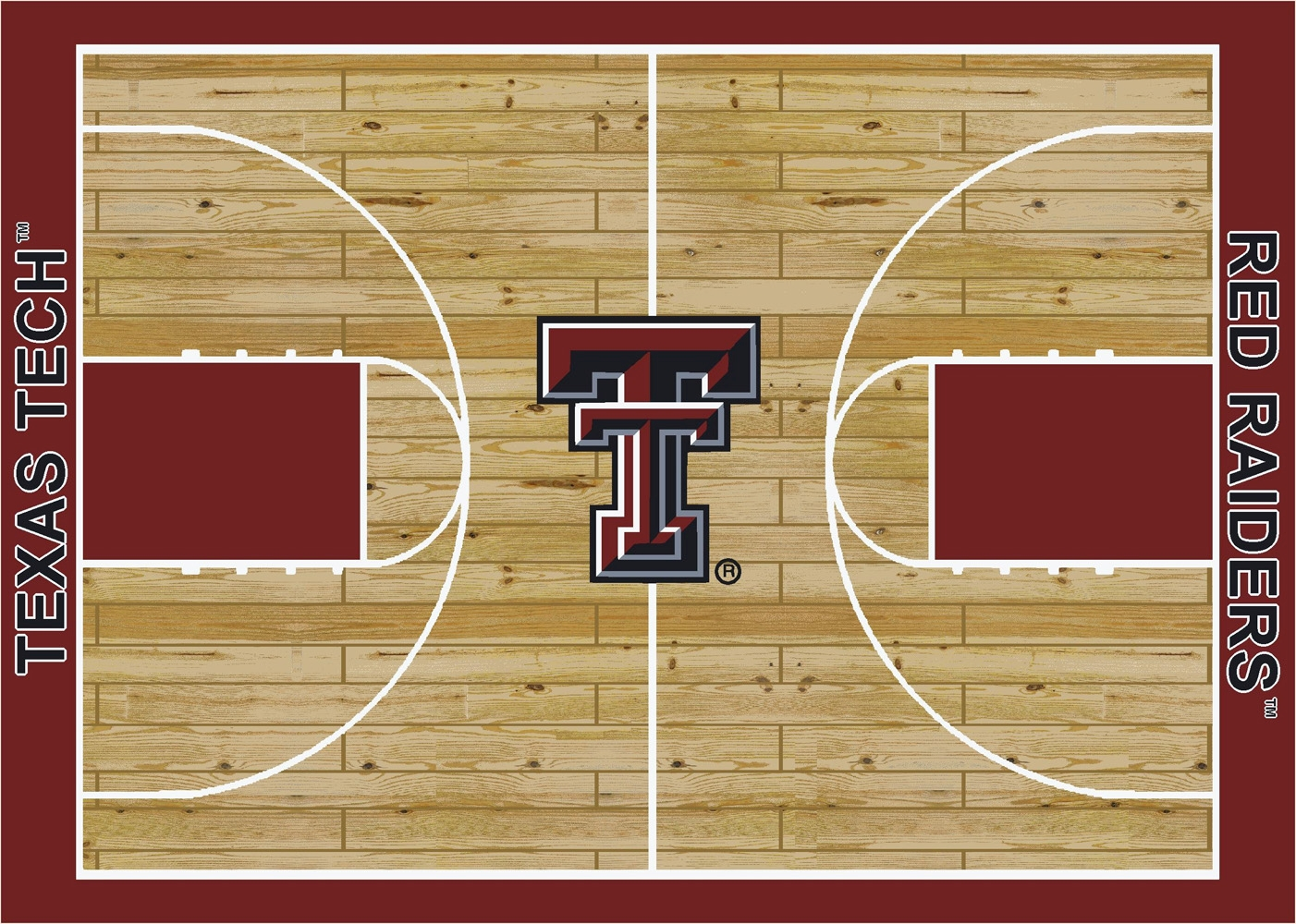 College basketball court texas tech university 100 for Average basketball court size