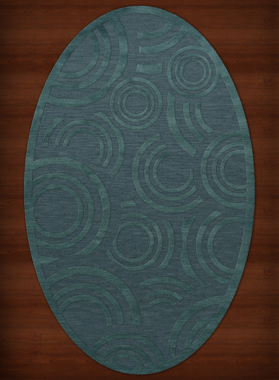 Payless Troy Tr3 144 Teal Oval Rug