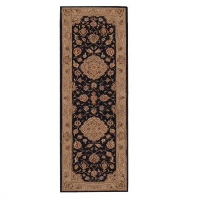Nourison Heritage Hall He10 Black Runner