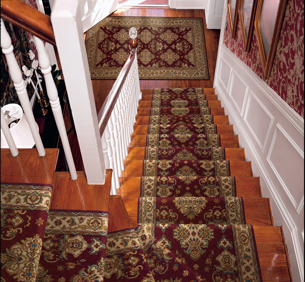 Burgundy Carpet Stair Runner Palace Garden Style