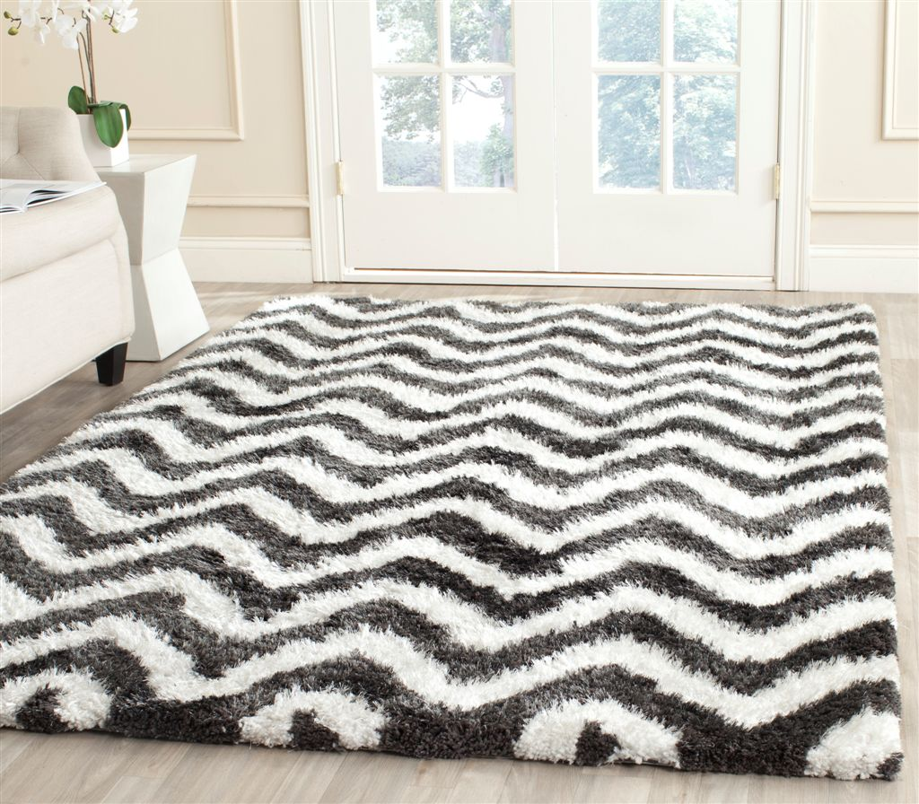 safavieh barcelona shag bsg320d graphite white area rug
