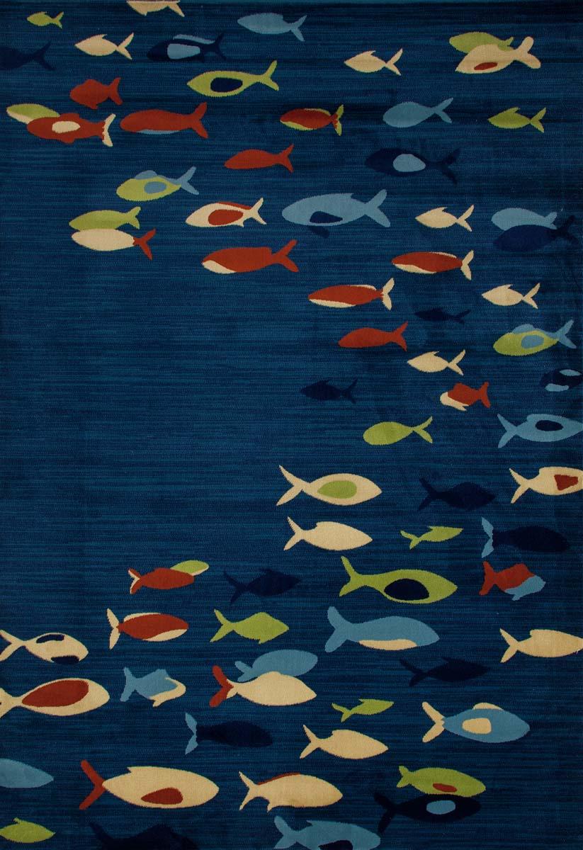 Bayside fish school navy blue rug for Blue runner fish