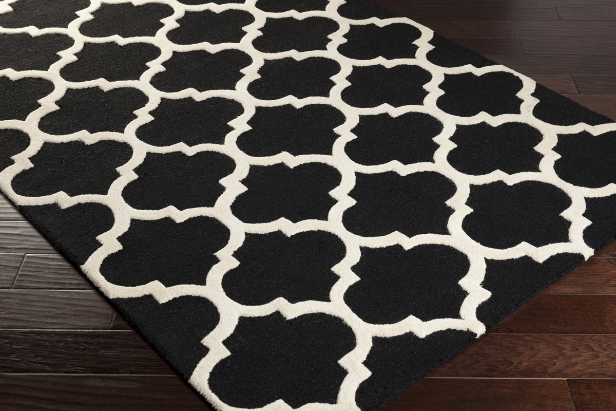 Modern black and white area rug patterned area rug for White area rug