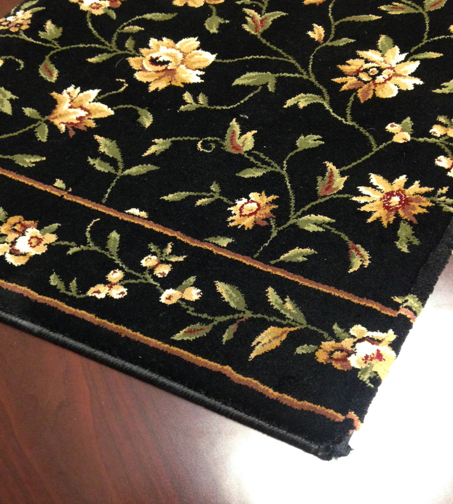 Augusta Floral Cb43 0003a Midnight Floral Carpet Stair Runner