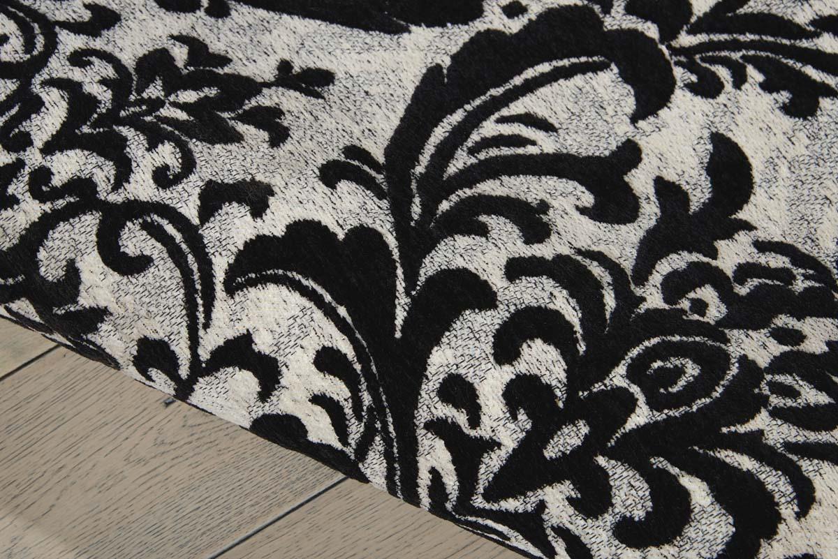 nourison damask das02 black white rug
