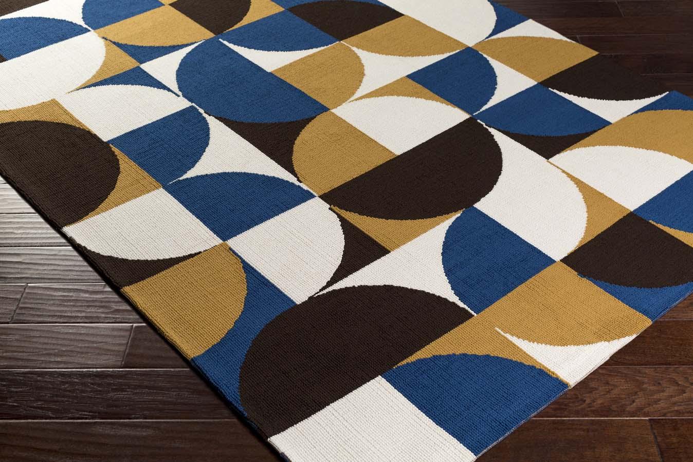 artistic weavers joan joan 6085 thatcher navy blue gold black rug. Black Bedroom Furniture Sets. Home Design Ideas