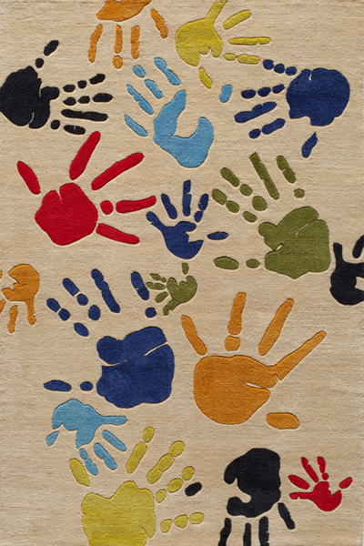 Lil Mo Whimsy LMJ-17 Fingerpaint Ivory Rug by Momeni