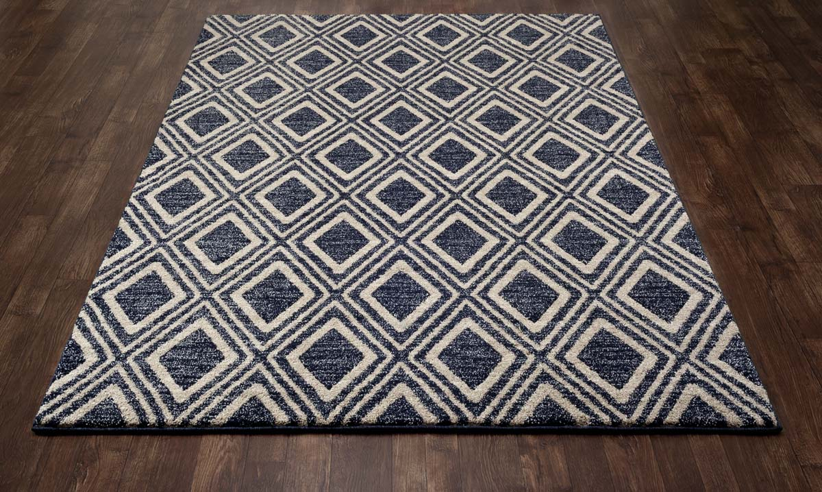 Zelot Diamond Grid Navy Rug