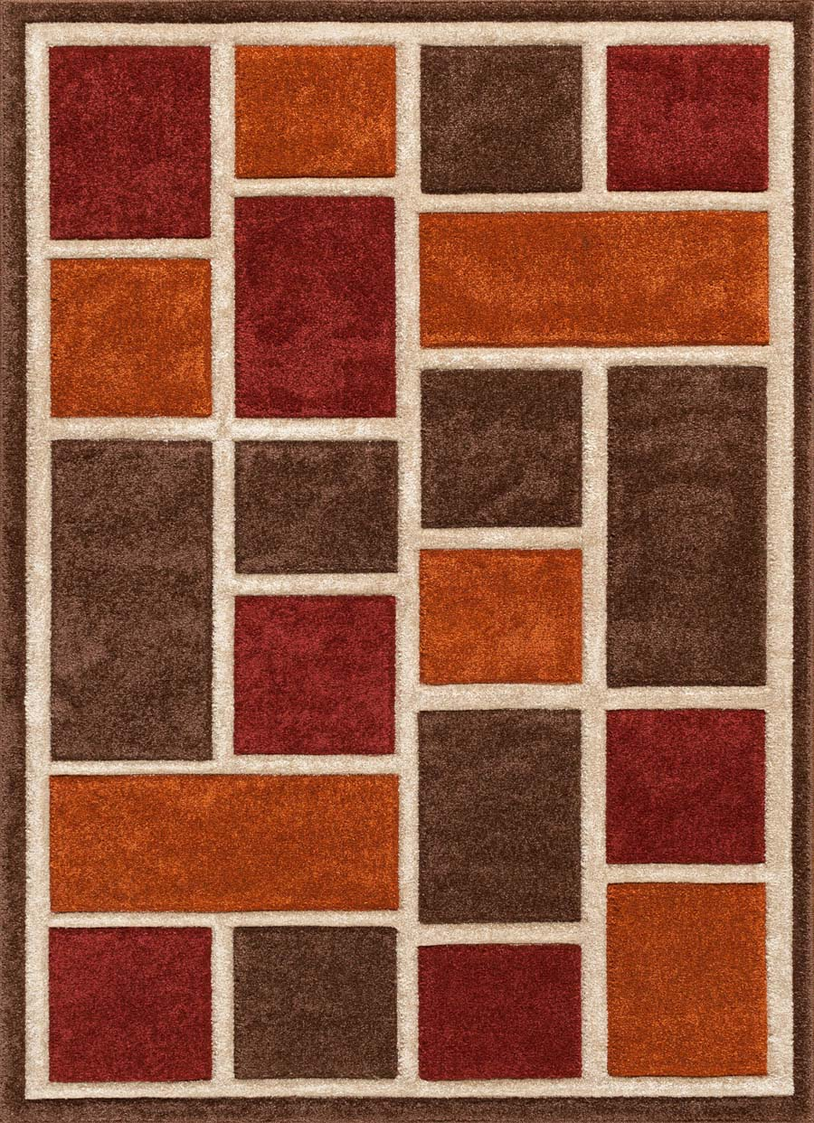 Payless Rugs Alpha 1702 21 Sliding Blocks Red Clay Rug