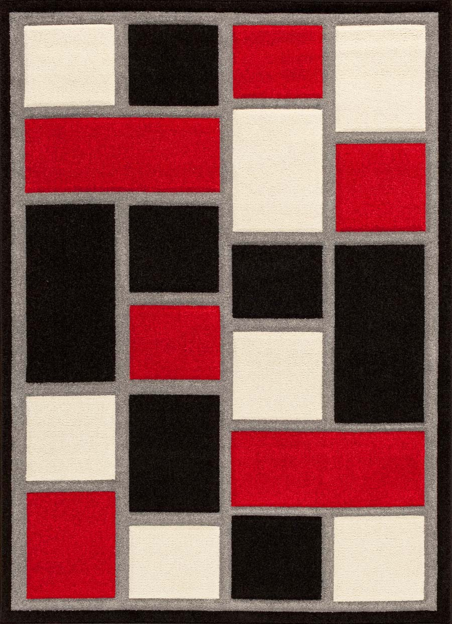 Amazing Payless Rugs Alpha 1702.81 Sliding Blocks Black Red Rug