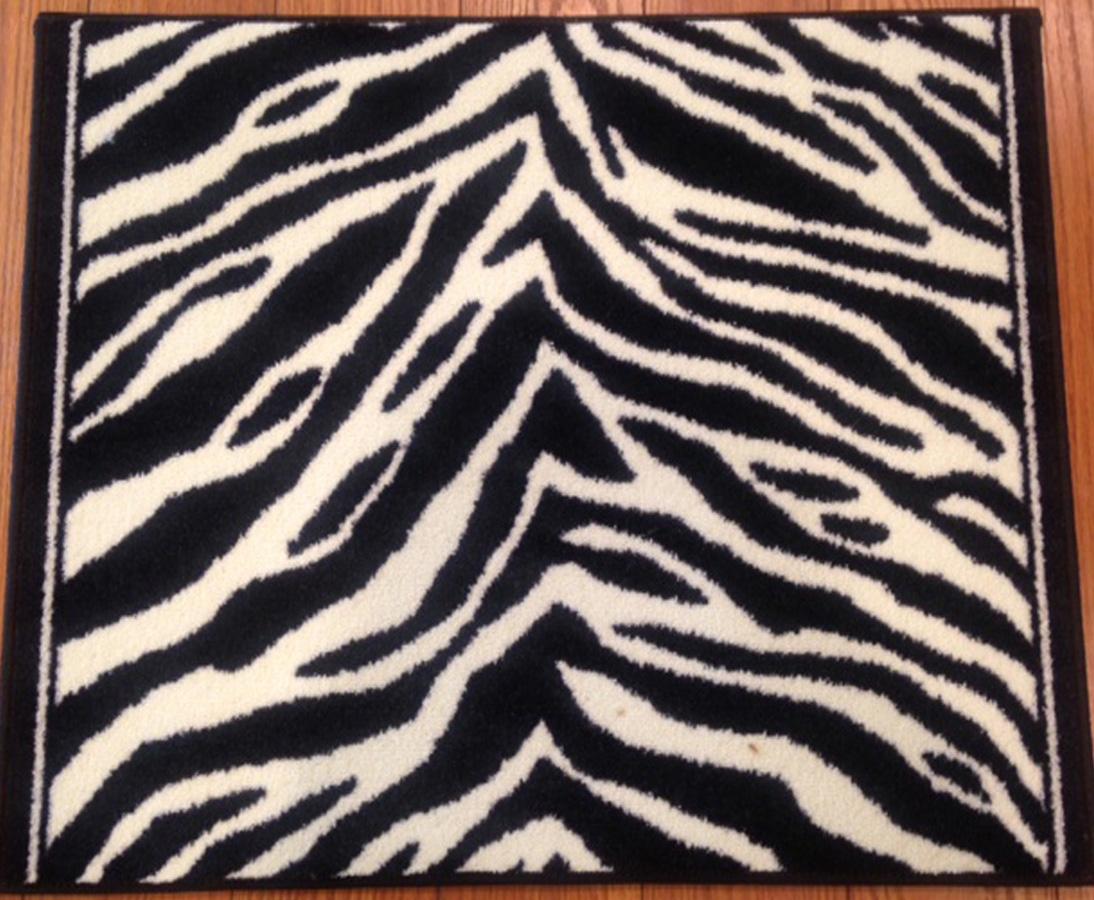 Zebra Print Carpet Hallway Stair Runner Black Ivory