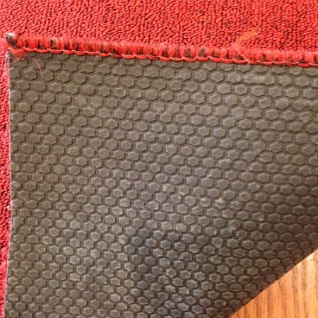 Pure Red   26 Inch Wide Rubber Backed Finished Runner   Price Is Per Foot
