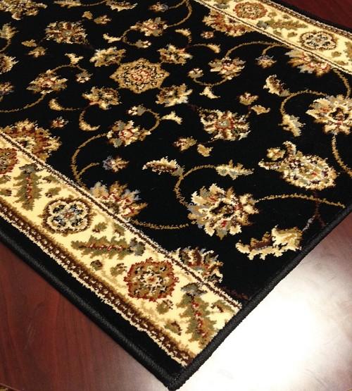 Caspian 8265bk kazmir black carpet hallway and stair runner 26 x 16 ft - Black carpet runners for hall ...