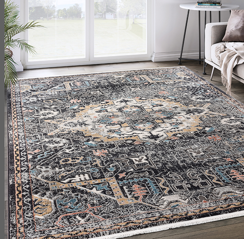 Prestige Weavers Azure Collection AZR150A Black Faded Medallion Persian  Area Rug