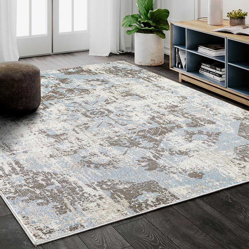 Prestige Weavers Urbana URB130A Bohemian Distressed Silver and Light Blue Area Rug