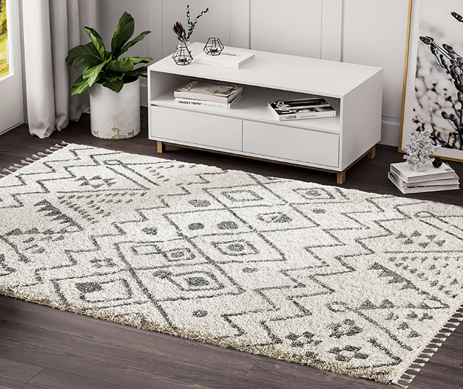 Prestige Weavers Willow WIL100A Moroccan Tribal Print Black and Ivory Area Rug
