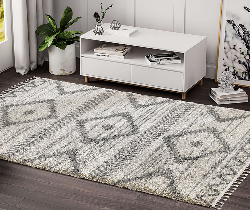 Prestige Weavers Willow WIL110A Bohemian Geometric Ivory and Grey Area Rug