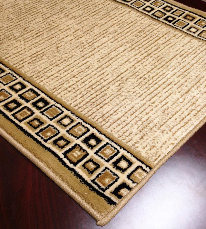 Caspian 8266bk squared away ivory black carpet hallway and stair runner 26 x 33 ft - Black carpet runners for hall ...