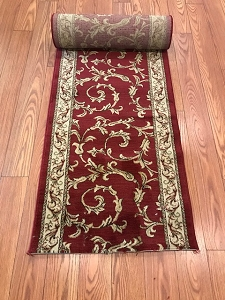 Chelsea Red Scroll - 26 Inch Wide Finished Runner - Price is Per Foot