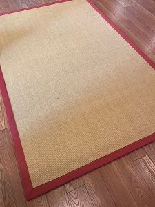 Clifton Faux Jute Red Border - 5 x 8 - Rubber Backing