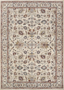 Couristan Monarch Kerman Vase JE45 6484 Antique Cream Red Rug