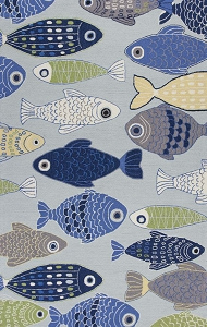 Kas Sonesta 2010 Light Blue Sea Of Fish Rug